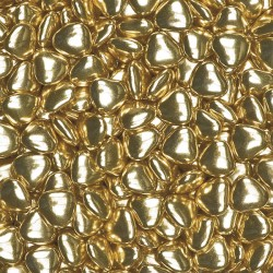 Small Metallic Gold Chocolate Heart Dragees (1cm) - 1 kg box