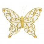 Ivory /Gold Organza Butterfly with Clip - 12cm