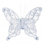 White/Silver Organza Butterfly with Clip - 12cm
