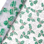 Silver/Green Holly Christmas Organza on a Roll