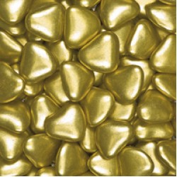 Large Metallic Gold Chocolate Heart Dragees (3cm) -1 kg box