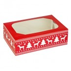 Red Christmas Cupcake Box and Insert - Holds 6 Cakes