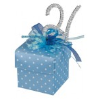 Blue Spotty Square Box with Lid