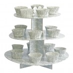 White/Silver Lace Design 3 Tier Card Cake Stand Kit