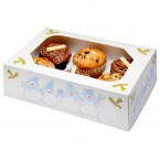 Blue Christmas Muffin Box and Insert - Holds 6 Cakes