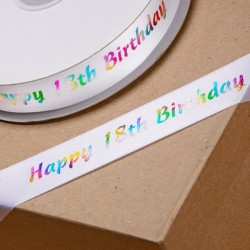 Multicolour 18th Birthday Ribbon - 20mm x 50mt
