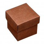 Brown Silk Square Box with Lid