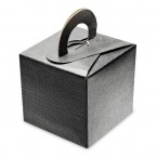 Black Silk Square Box with Handle