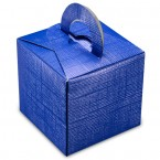 Blue Silk Square Box with Handle