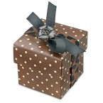 Brown/Ivory Dotty Square Box with Lid